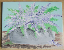 """Hand painted home decor accent painting 14"""" x 11"""" Flower design Lavender"""