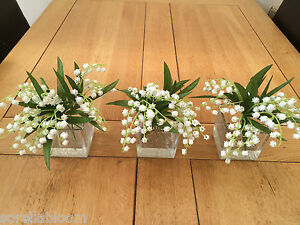 BEAUTIFUL SET OF 3 LILY OF THE VALLEY GLASS CUBE ARTIFICIAL FLOWER ARRANGEMENTS