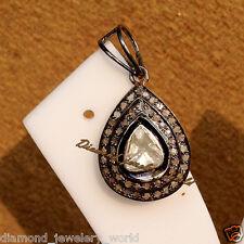 Estate Vintage 1.09cts Genuine Rose Antique Cut Diamond Jewelry Silver Pendant