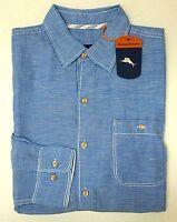 NWT $118 Tommy Bahama LS Shirt Blue Mens Size S M Check Gingham Plaid Pocket NEW