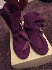 Women's Diesel Boots 6/39 Purple moccasins suede ankle boots festival