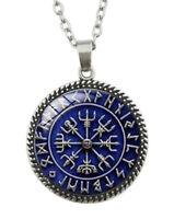 Collar Colgante Estilo Vikingo Símbolos Runas, Fondo Azul