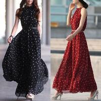 Women's Boho Chiffon Long Maxi Dresses Evening Party Beach Dress Ladies Sundress
