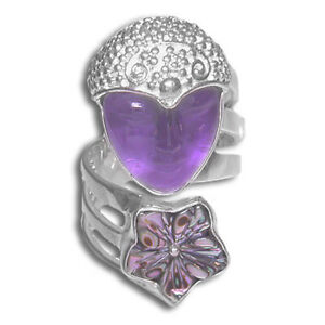 Offerings Sajen Sterling Silver Amethyst Goddess Ring with Abalone Flower Sz 6
