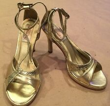 "Dyeables ""Riley"" Woman's Dressy shimmer Gold High Heel Wedding Prom Shoes Straps"