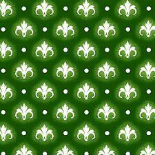 Fabric #2418 White Fleur de Lis on Green Jason Yenter ITB Sold by the Half Yard