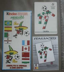 Rare Lot of 3 Mexico World Cup 1986 and Italy World Cup 1990 Football Stickers