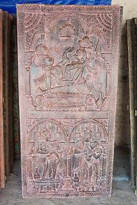 Vintage KAMASUTRA Carved Wood Door Panel Beautiful Rustic Panel Wall Sculpture