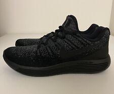 Nike Lunarepic Low Flyknit 2 Women's Sz 11/ Mens Sz 9.5 Black Grey 863780-004