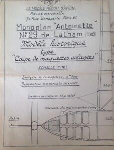 """plans construction bois avion Monoplan """"ANTOINETTE"""" de Latham 1909 - AU 1/12,5"""