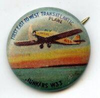 Junkers W33 Yank Junior Airplane Vintage Button Pinback Pin Transatlantic BJ700