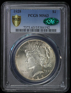 1928 Peace Silver Dollar PCGS MS 63 CAC | Uncirculated BU