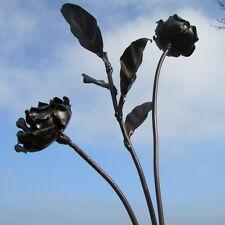 Handcrafted rustic metal rose flower & leaf garden stake ornament sculpture art