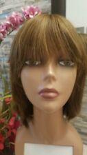 "Silky soft straight light brown human hair wig long bangs layered 12"" sheitel"