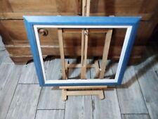 Encadrement en bois bleu avec ML blanche 2 filets noirs 6F 41 x 33 CM