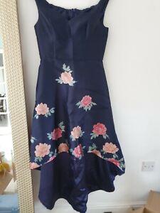 Chi Chi London off the shoulder,Hi Low Dress. Navy Floral Size 16