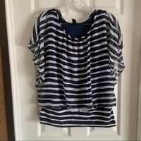 Style & Co Women's Navy/White Striped Scoop Neck Short Sleeve Blouse size Medium