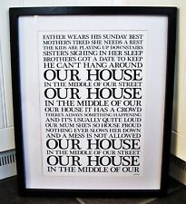 Madness/Our House A3 size lyric art print/poster