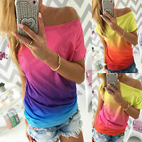 Fashion Women's Off Shoulder Short Sleeve T-Shirts Loose Casual Summer Soft Tops