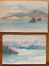 2 Acquarelli colori fine '800 primi '900 lago  litorale mare costa APPENNINI