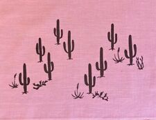 Vintage Leona Caldwell Hand Silkscreened Saguaro Cactus on Pink Kettle Cloth