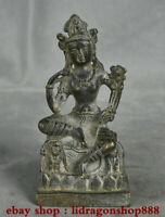 "5.6 ""Bouddhisme Tibétain Bronze Siège Vert Tara illumination Statue de la Déesse"
