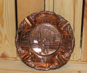 Vintage Belgium Brussels souvenir ornate metal cigarette ashtray