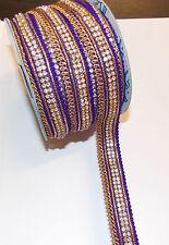 1m purple Diamonte crystal cake decoration dance wedding ribbon mesh rhinestone