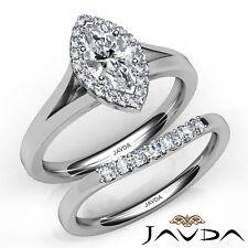 1.1ctw Split-Shank Bridal Set Halo Marquise Diamond Engagement Ring GIA E-VVS2