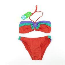 Vintage 70s NOS bandeau Bikini Red Striped Bathing Swim Suit - Tag SZ 7 / 30