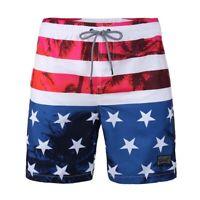 Men's American Flag Print Beach Vacation Fast Dry Mesh Lining Swim Trunks Shorts