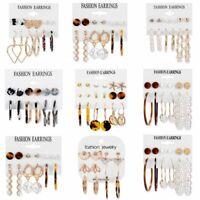 6 Pairs Hot Pearl Geometric Dangle Drop Stud Earrings Women Jewelry Charm Gift