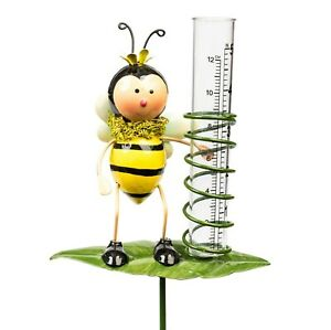 Rain Gauge Garden Metal Stake Bumblebee Decorative Outdoor Yard Decor