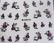 3d Nail Art Sticker Sparkle Glitter Pink Purple Butterfly Decal Decoration 847d