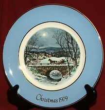 Avon Christmas 1979 Wedgwood Dashing Through the Snow Christmas Plate Used