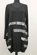 SHE'S CRAZY EUROPEAN PLUS JERSEY BALLOON TUNIC L/S PULLOVER BLOUSE BLK 2 14 /16