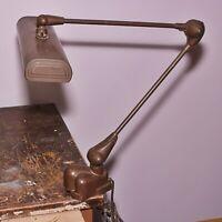 Vintage Art Specialty Flexo Industrial Clamp Lamp Drafting Desk Task Light Brown