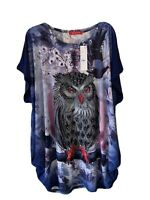 Meggie Tunic Top Owl Large Graphic Gem Detail Blue Short Sleeve Top Size 16-18