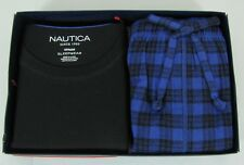 Nautica mens pajama set 2 piece short sleeve crew neck and flannel pants M NEW