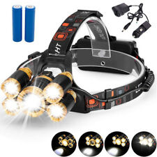 80000LM Headlamp Rechargeable 5xLED Headlight Flashlight Torch 18650 Lamp