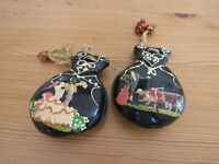 Authentic Spanish hand painted wooden castanets Flamenco percussion 1960s