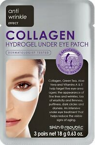 SKIN REPUBLIC COLLAGEN HYDROGEL UNDER EYE PATCH  X 3 PAIRS New & Sealed