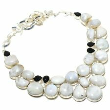"""Rainbow Moonstone, Spinel Gemstone 925 Sterling Silver Jewelry Necklace 18"""""""