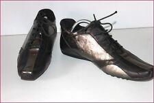 KENZO Sneaker Cuir Bronze et Noir Pointus T 40 TBE