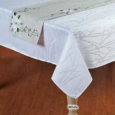 """Christmas Decor Tablecloth Silky White Damask 52""""x 70 Etched Design Winter Decor"""