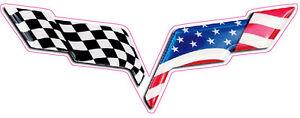 "Corvette C6 American Flag Decal is 6"" x 4"""