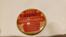 Rare Vintage 1957 Pennsylvania Fishing License,pin back, button Exc. cond.