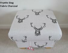 Fryetts Stag Fabric Footstool Charcoal Grey Deer Footstall Bespoke Pouffe New
