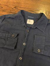AG Adriano Goldschmied Blue Plaid Metal Button Front Shirt Men's Sz Large
