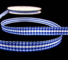 """25 Yard Spool Royal Blue White Mini Check Gingham Plaid Ribbon 1/4""""W"""